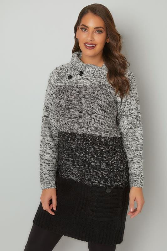 Grey & Black Cable Knit Tunic Dress With Split Neck & Pockets