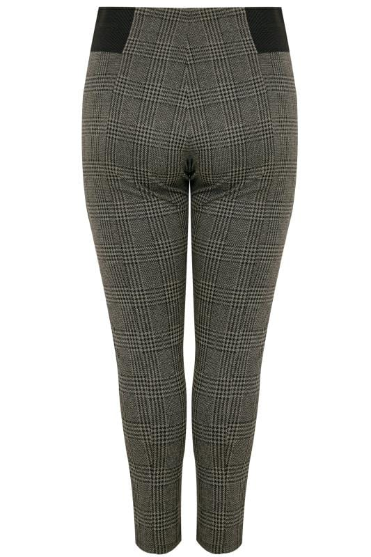Grey & Black Checked Ponte Trousers With Elasticated Panels
