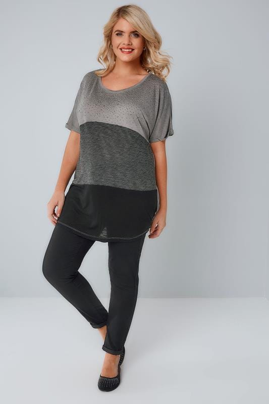 Grey & Black Colour Block Top With Gem Embellishment