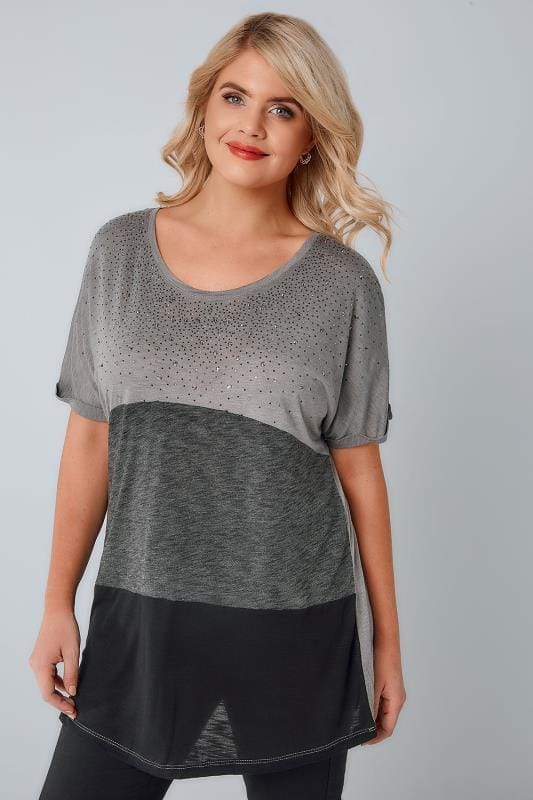 Plus Size Jersey Tops Grey & Black Colour Block Top With Gem Embellishment