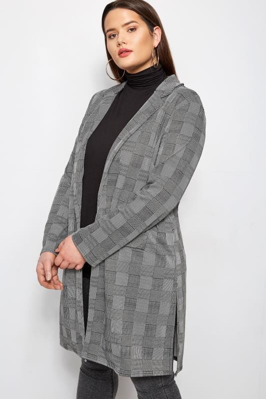 Grey & Black Dogtooth Check Longline Jacket