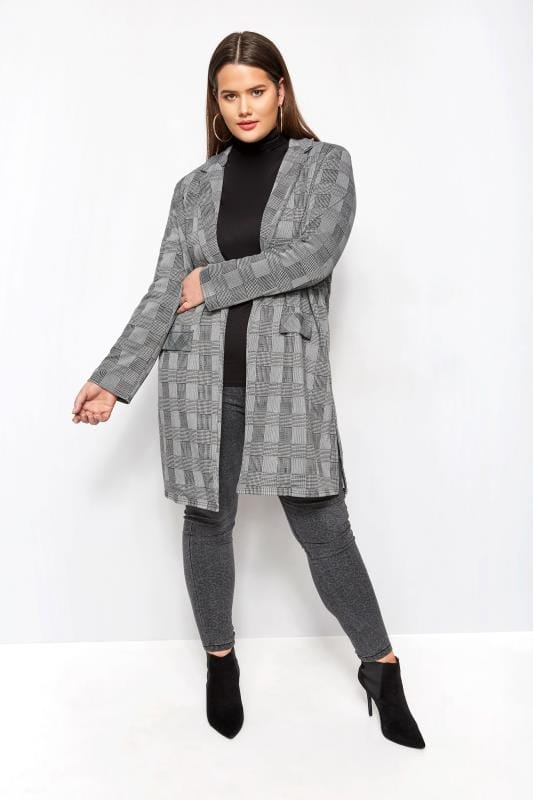 Plus Size Jackets Grey & Black Dogtooth Check Longline Jacket