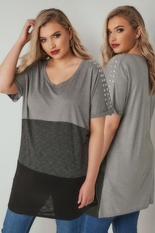 Plus Size T-Shirts Grey & Black Longline Colour Block T-Shirt With Studded Details