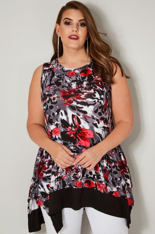 Plus Size Jersey Tops Grey, Black & Red Sleeveless Floral Swing Top With Hanky Hem