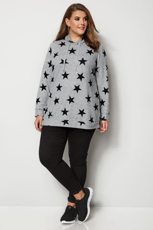 Plus Size Hoodies & Jackets Grey & Black Star Print Hoodie