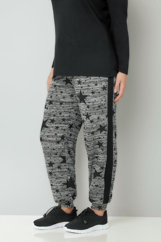 Plus Size Joggers Grey & Black Star Print Joggers With Cuffed Ankles