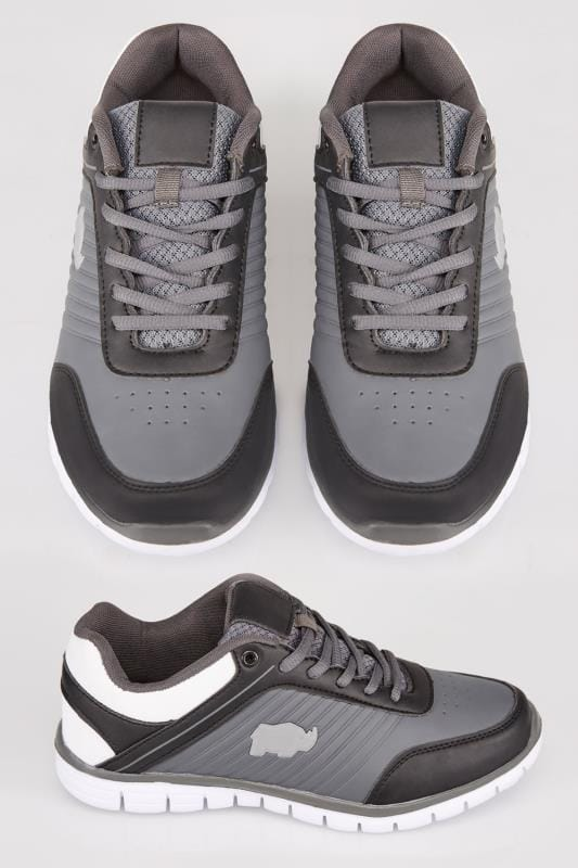 Grey Black & White Lace Up Trainers With Logo Detail