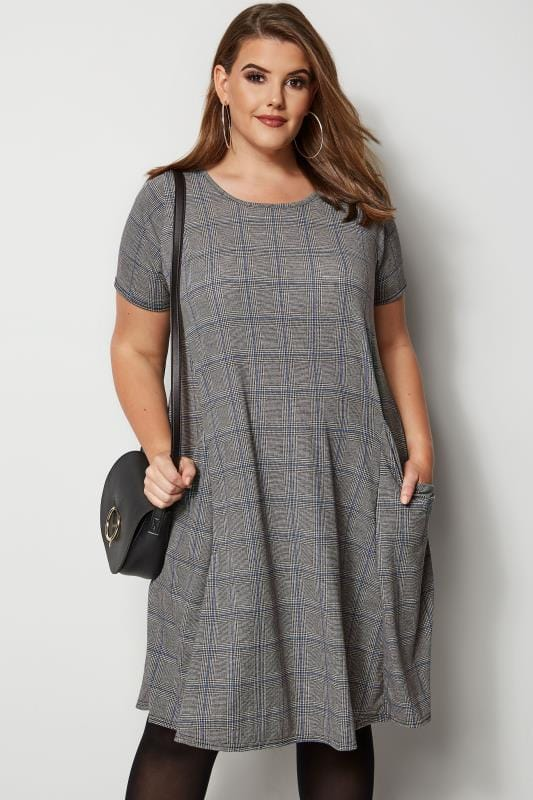 Plus Size Midi Dresses Grey & Blue Check Drape Pocket Dress