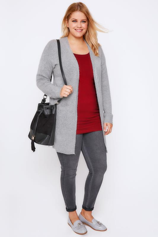 Grey Boucle Longline Cardigan With Pockets