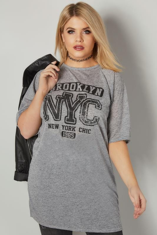 "T-Shirt Gris en Jersey & Slogan ""Brooklyn NYC"""