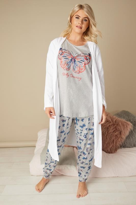 Grey Butterfly Print Pyjama Set