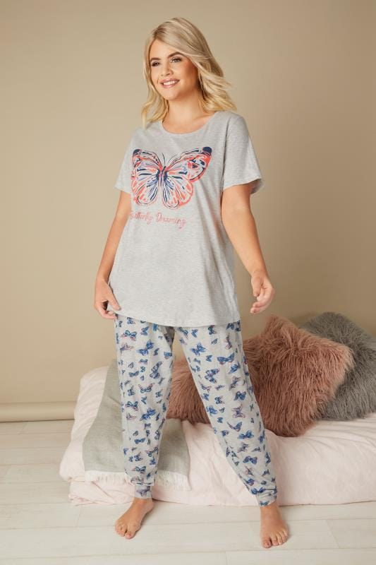 Plus Size Pyjamas Grey Butterfly Print Pyjama Set