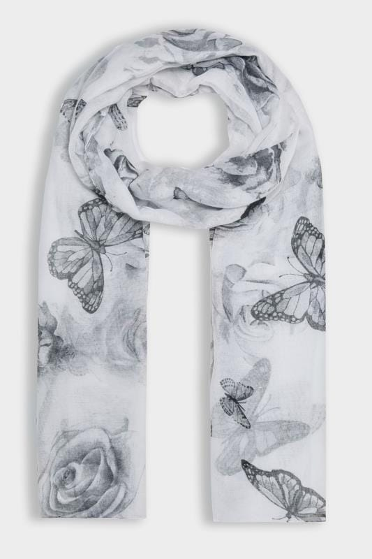 Grey Butterfly Print Scarf