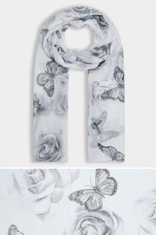 Plus Size Scarves Grey Butterfly Print Scarf