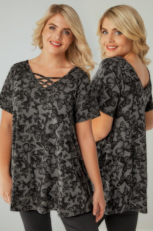 Day Tops Grey Butterfly Print Top With Cross Over Straps 132466