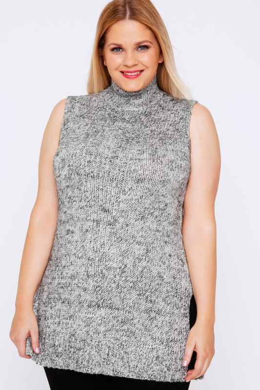 Grey Cable Knit Sleeveless Turtle Neck Tunic Jumper