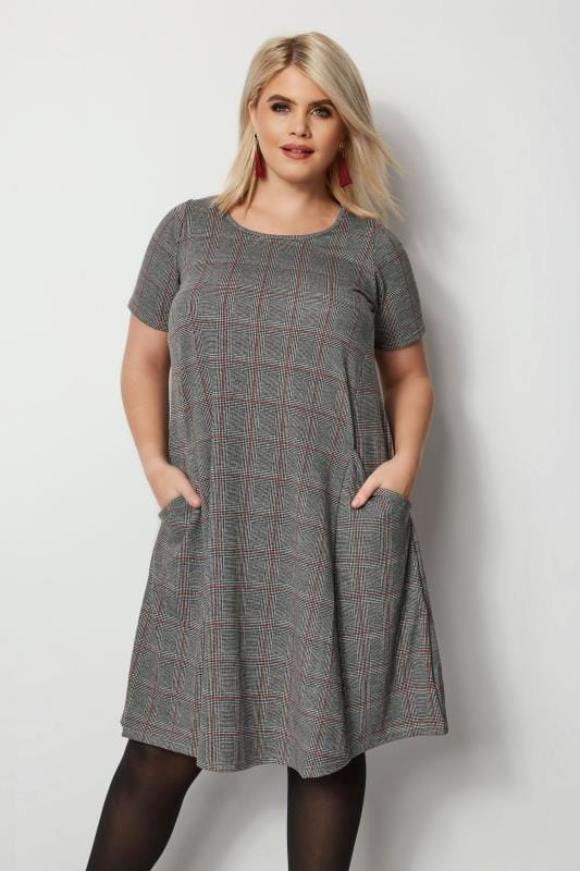 Plus Size Midi Dresses Grey Check Drape Pocket Dress