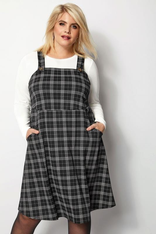 Plus Size Skater Dresses Grey Check Pinafore Dress