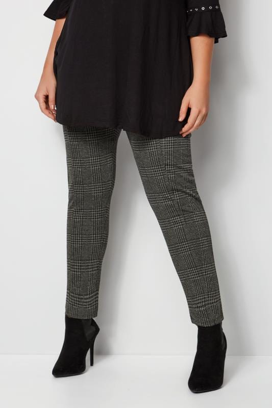 Plus Size Tapered & Slim Fit Trousers Grey Check Ponte Trousers With Elasticated Panels