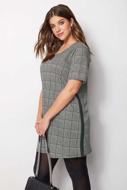 Plus Size Sleeved Dresses Grey Check & Stripe Tunic Dress