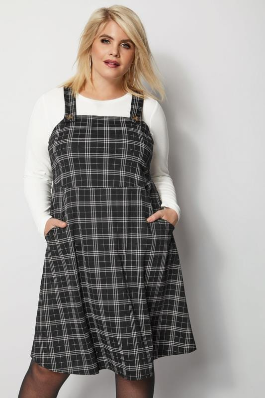 Grey Check Pinafore Dress