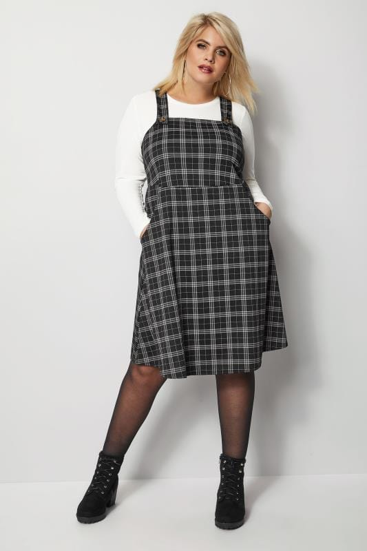 Grey Checked Button Pinafore Dress Plus Size 16 To 36