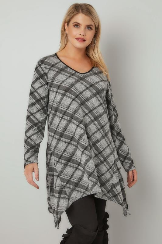 Grey Checked Fine Knit Top With PU Trim Neckline & Hanky Hem