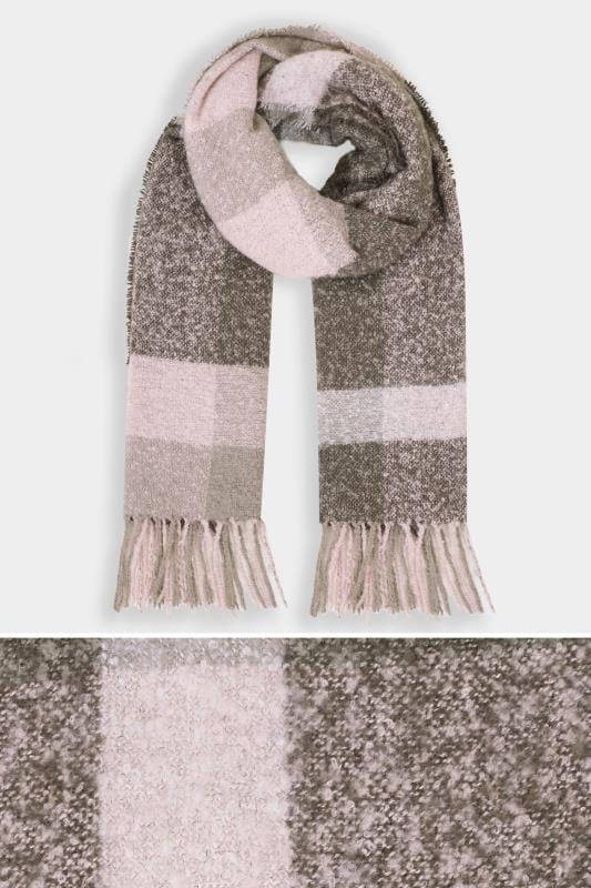 Plus Size Scarves Grey Checked Scarf