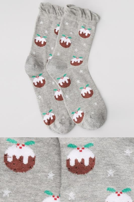 Plus Size Plus Size Socks Grey Christmas Pudding Bauble Gift Socks