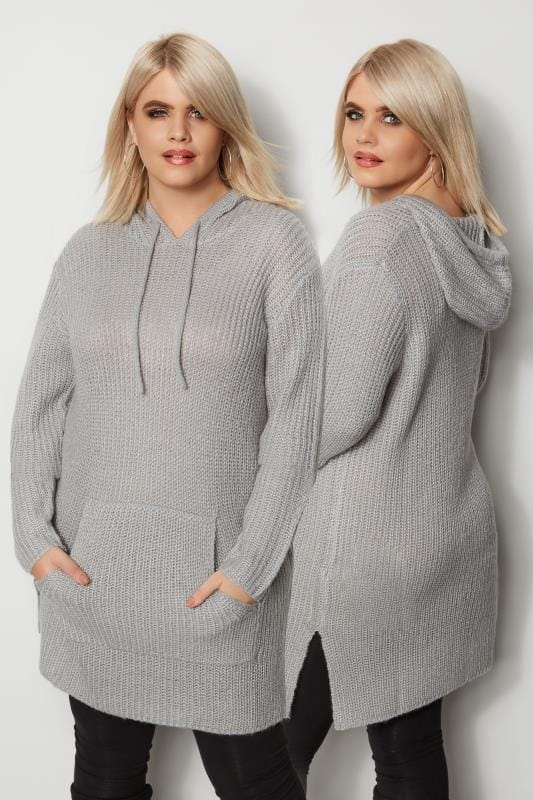Plus Size Jumpers Grey Chunky Knit Hoodie