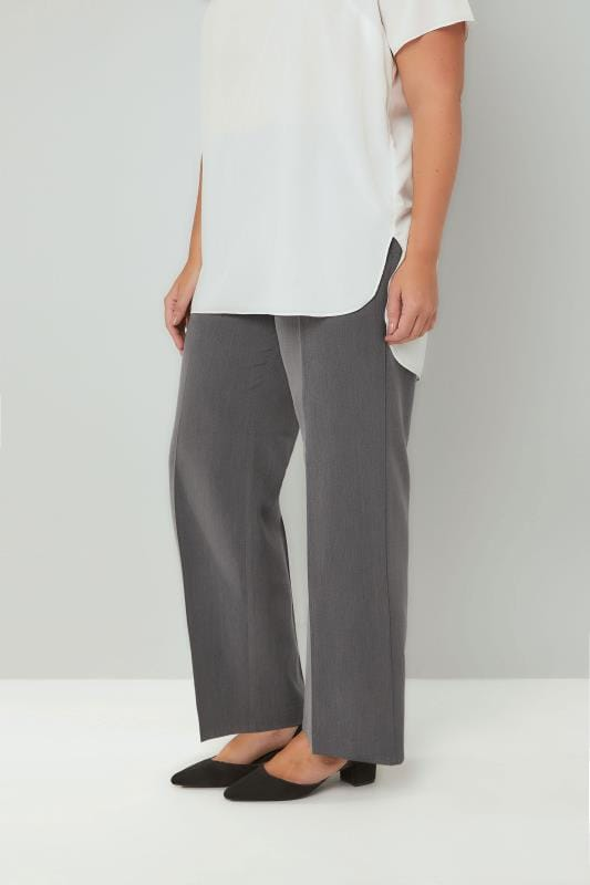 Grey Classic Straight Leg Trousers With Elasticated Waistband