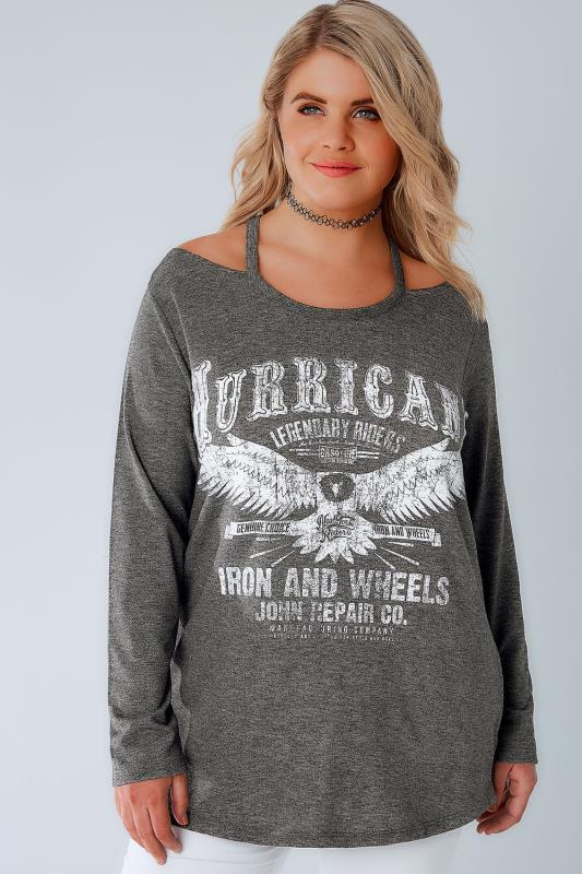 Grey Cold Shoulder Sweat Top With Hurricane Slogan