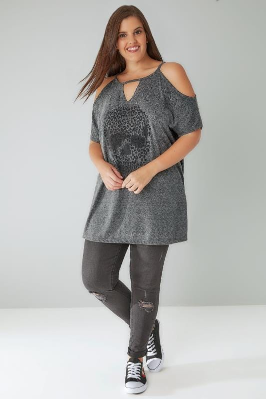 Grey Cold Shoulder Top With Embellished Skull Print