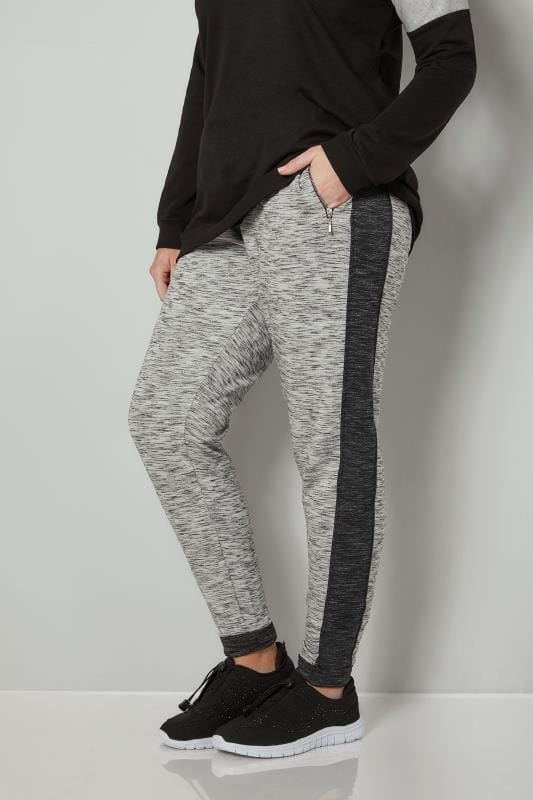 Plus Size Joggers Grey Colourblock Joggers With Zip Pockets