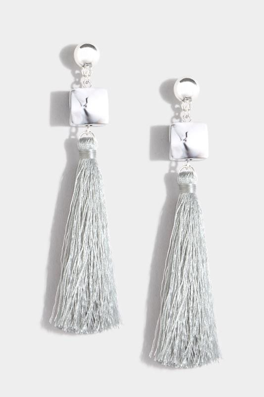 Plus Size Earrings Grey Cube Tassel Drop Earrings