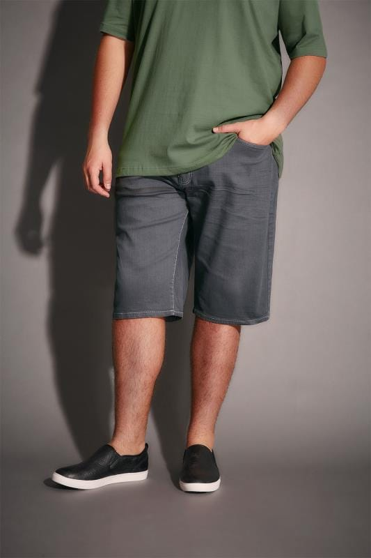 Grey Denim 5 Pocket Shorts