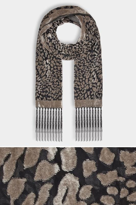 Plus Size Scarves Grey Devore Animal Print Scarf With Fringed Trims