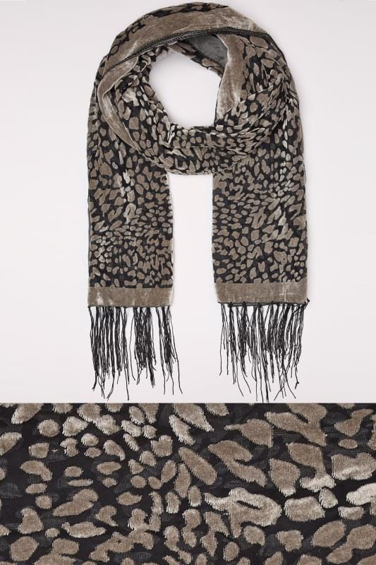 Scarves Grey Devore Animal Print Scarf With Fringed Trims 152507