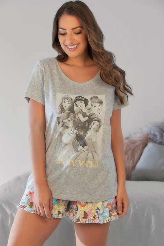 Pyjama Sets Grey Disney Princess Shorts and T-Shirt Pyjama Set 056695