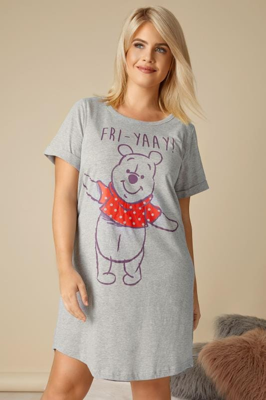 Plus Size Nightdresses & Chemises Grey Disney Winnie The Pooh 'Fri-Yay' Nightdress
