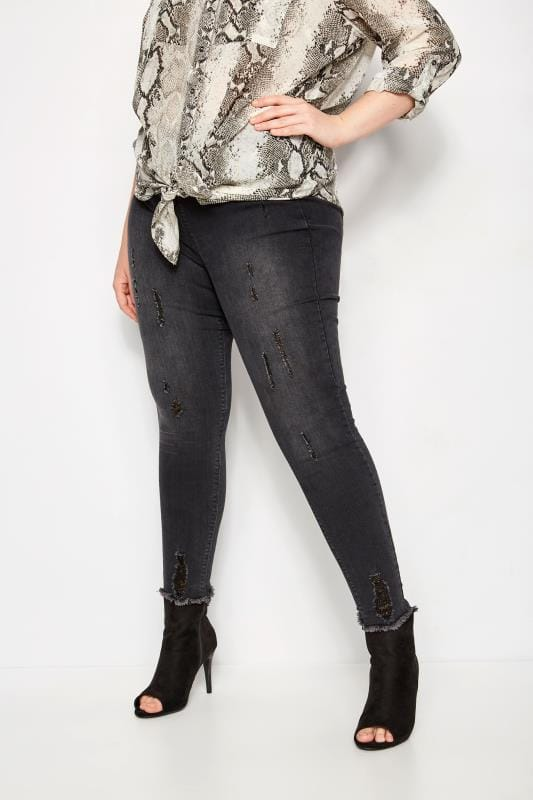 Plus Size Jeggings Grey Distressed JENNY Jeggings