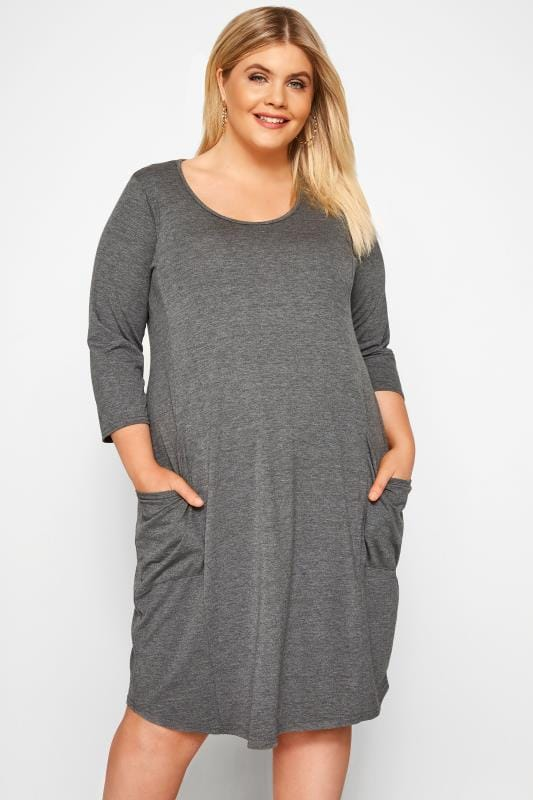Plus Size Jersey Tops Grey Drape Pocket Dress