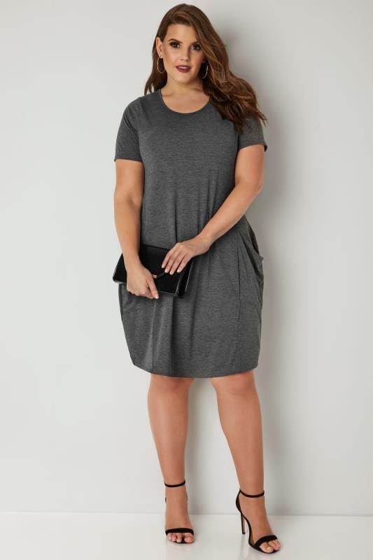 Grey Drape Pocket Jersey Dress