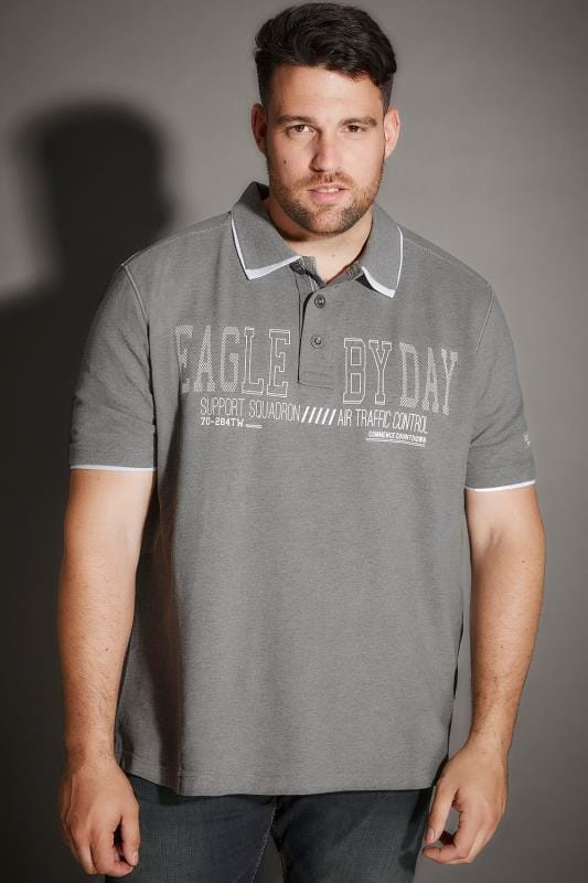 "Polo Shirts Grey ""Eagle By Day"" Polo Shirt With Double Collar 170292"