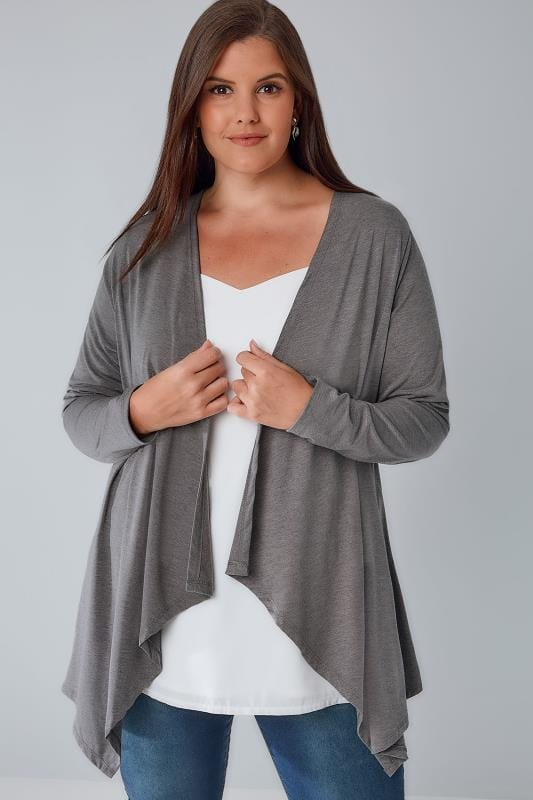 Cardigans Grey Edge To Edge Waterfall Jersey Cardigan 134147