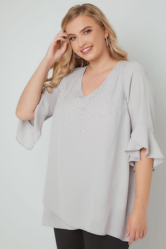 Grey Embellished Layered Chiffon Top With Flute Sleeves