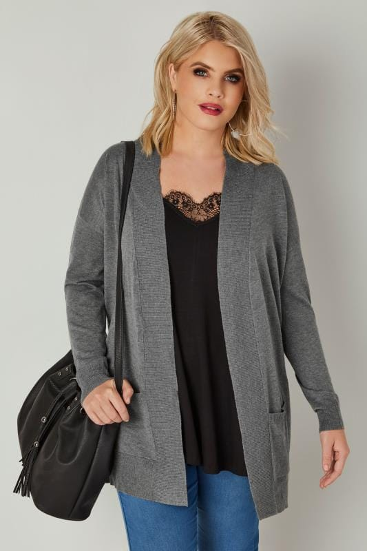 Plus Size Cardigans Grey Fine Knit Edge To Edge Cardigan