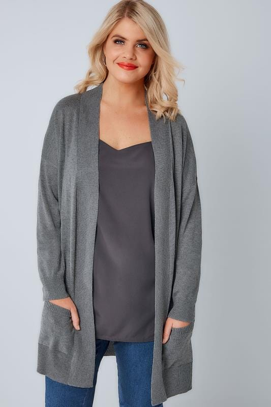 Plus Size Cardigans Grey Fine Knit Edge To Edge Rib Trim Cardigan With Pockets