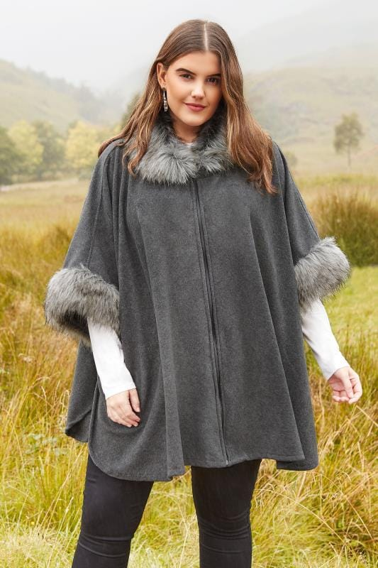 Grey Fleece Wrap With Faux Fur Trim