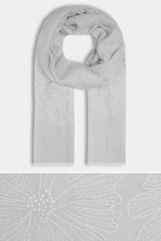 Grey Floral Embroidered Scarf